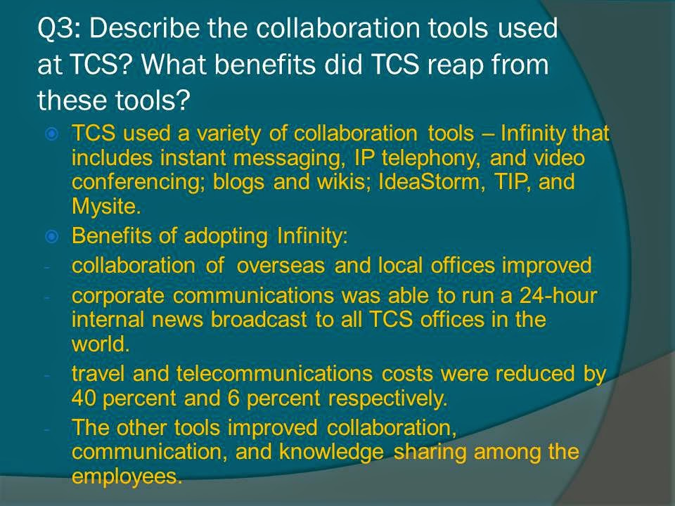 knowledge management and collaboration at tata consultancy services case study Tata consultancy services provides early expertise on advanced collaboration solutions using microsoft office sharepoint server 2007 - tata consultancy services.