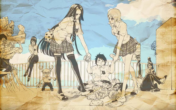 one piece school boa hancock luffy nami school uniform anime hd wallpaper 1680x1050
