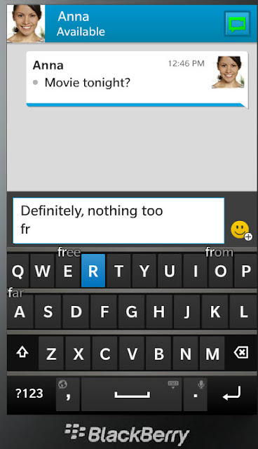 BlackBerry 10 keyboard predicting text