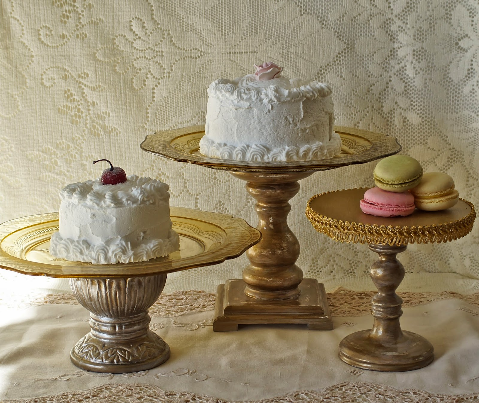 here are some gold cake stands for sale each one is unique and