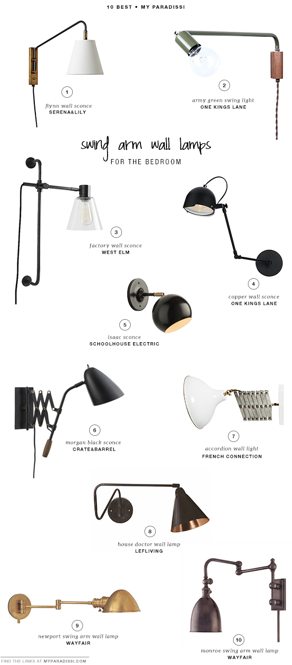 10 BEST: Swing arm wall lamps for the bedroom My Paradissi