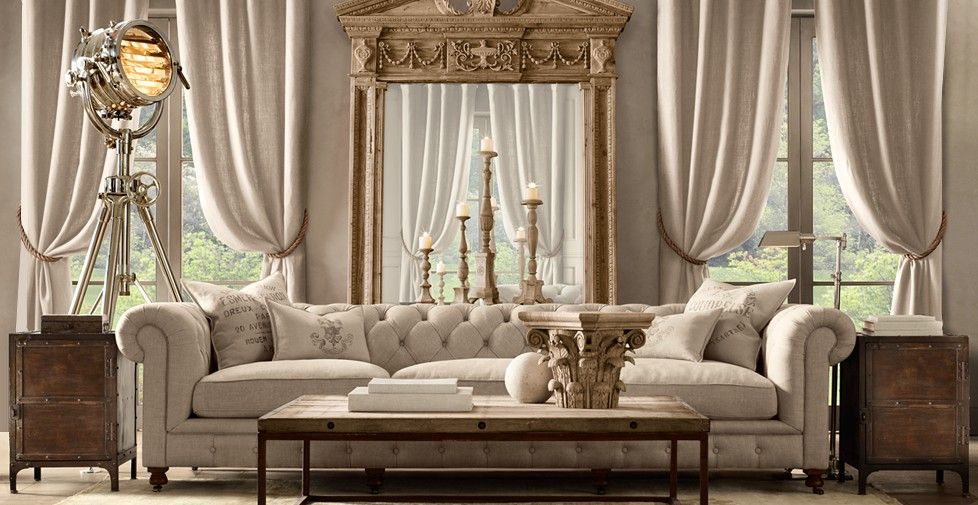 Domy luxusowe restoration hardware luksusowe wn trze for Best furniture brands in usa