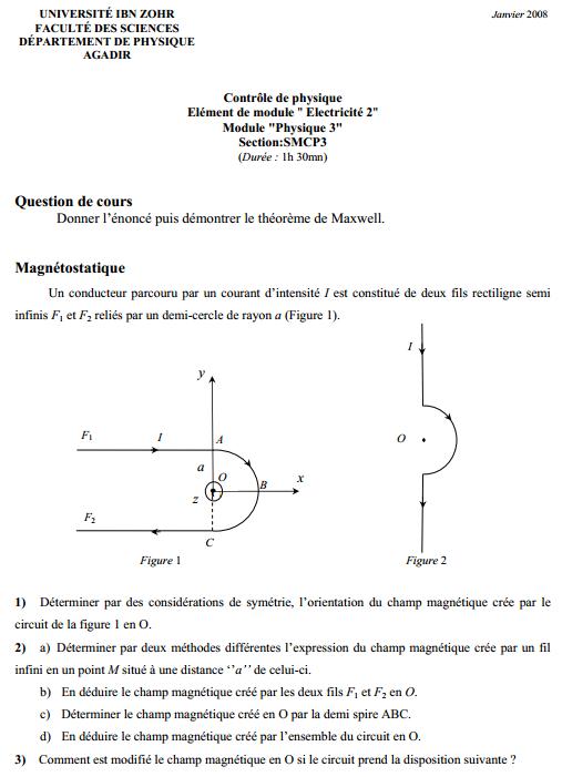Contrôle Magnétostatique dans le vide SMCP3