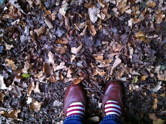 Autumn leave and acorns, stripy socks and 1940s brogues