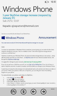Gratis SkyDrive 20GB untuk Windows Phone
