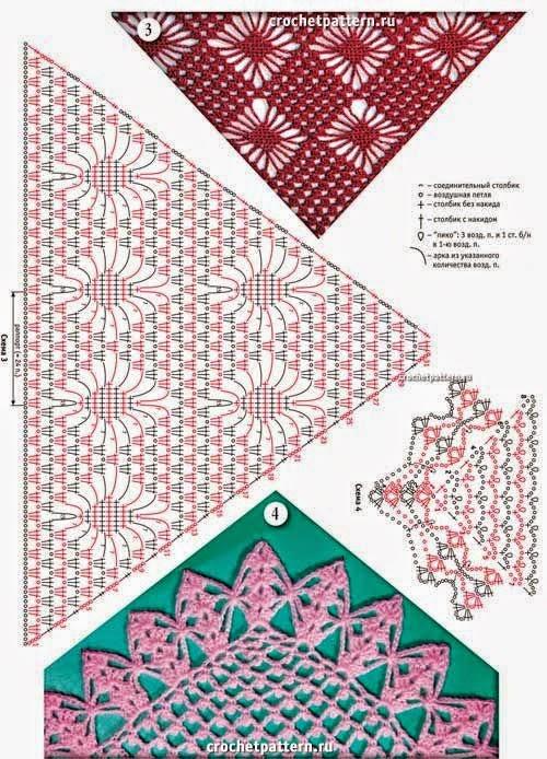 4 preciosos diseños de chales triangulares al crochet