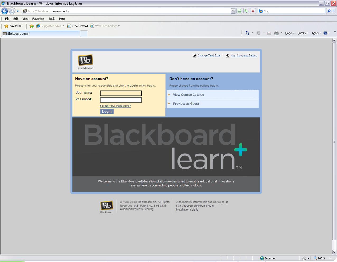 Blackboard IM Support - Cameron University Cameron Blackboard