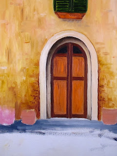 oil painting of Italian country home