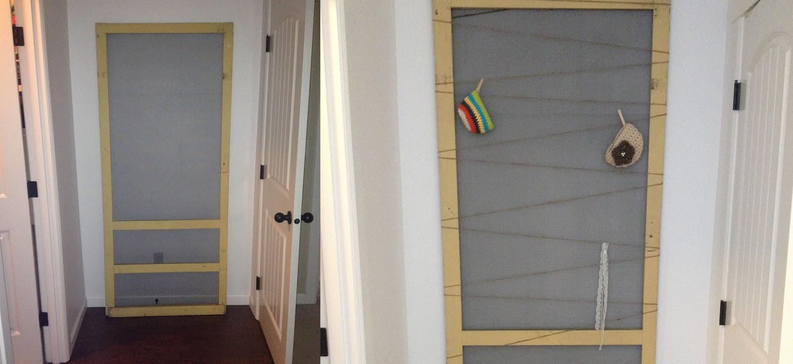 DIY Photo Prop Storage - Screen door and twine