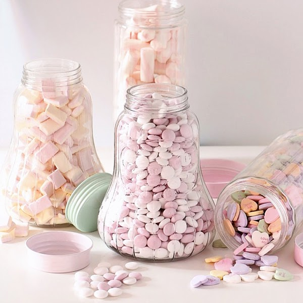 Lisbeth Dahl jars full of candy - Retro Pastel Kitchen Colors That'll Make You Squeal!