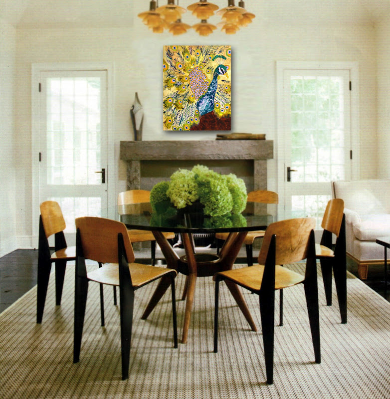 Tasteful Dining Room Decorating with Peacock Art title=