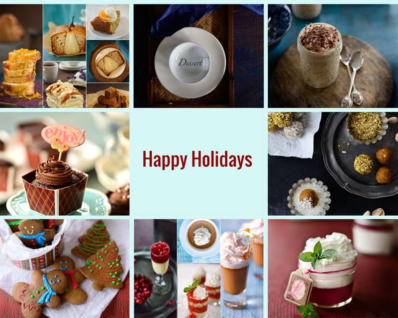 Holiday desserts and drinks menu