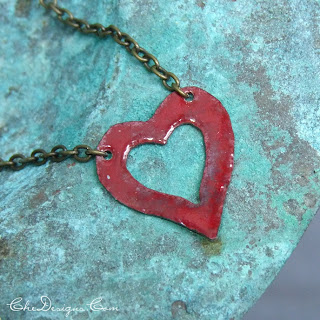 handmade red enamel heart necklace in copper and brass for Valentines Day gifts