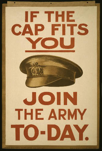 classic posters, enlist, free download, graphic design, military, propaganda, recruitment, retro prints, vintage, vintage posters, war, If the Cap Fits You, Join the Army Today - Vintage War Military Elistment Poster
