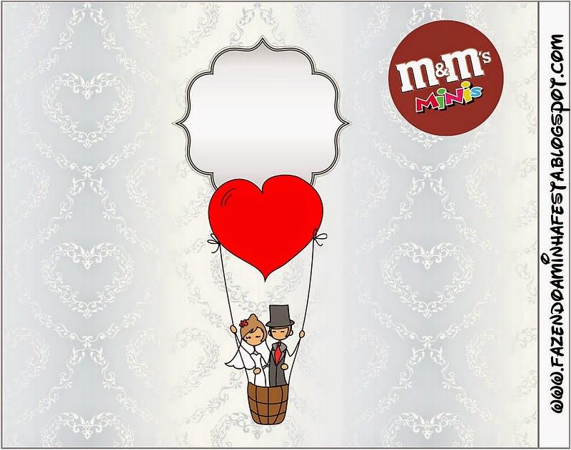 Etiquetas M&M de Pareja de Novios Volando para imprimir gratis.