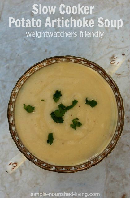 Slow Cooker Potato Artichoke Soup #soupunder200calories