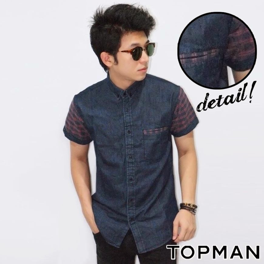 Kemeja Short Denim Sleeve Tartan