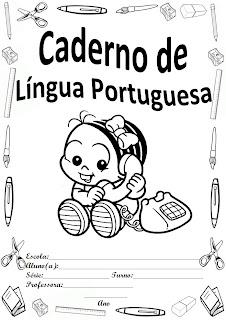 capa para caderno turma da monica baby portugues