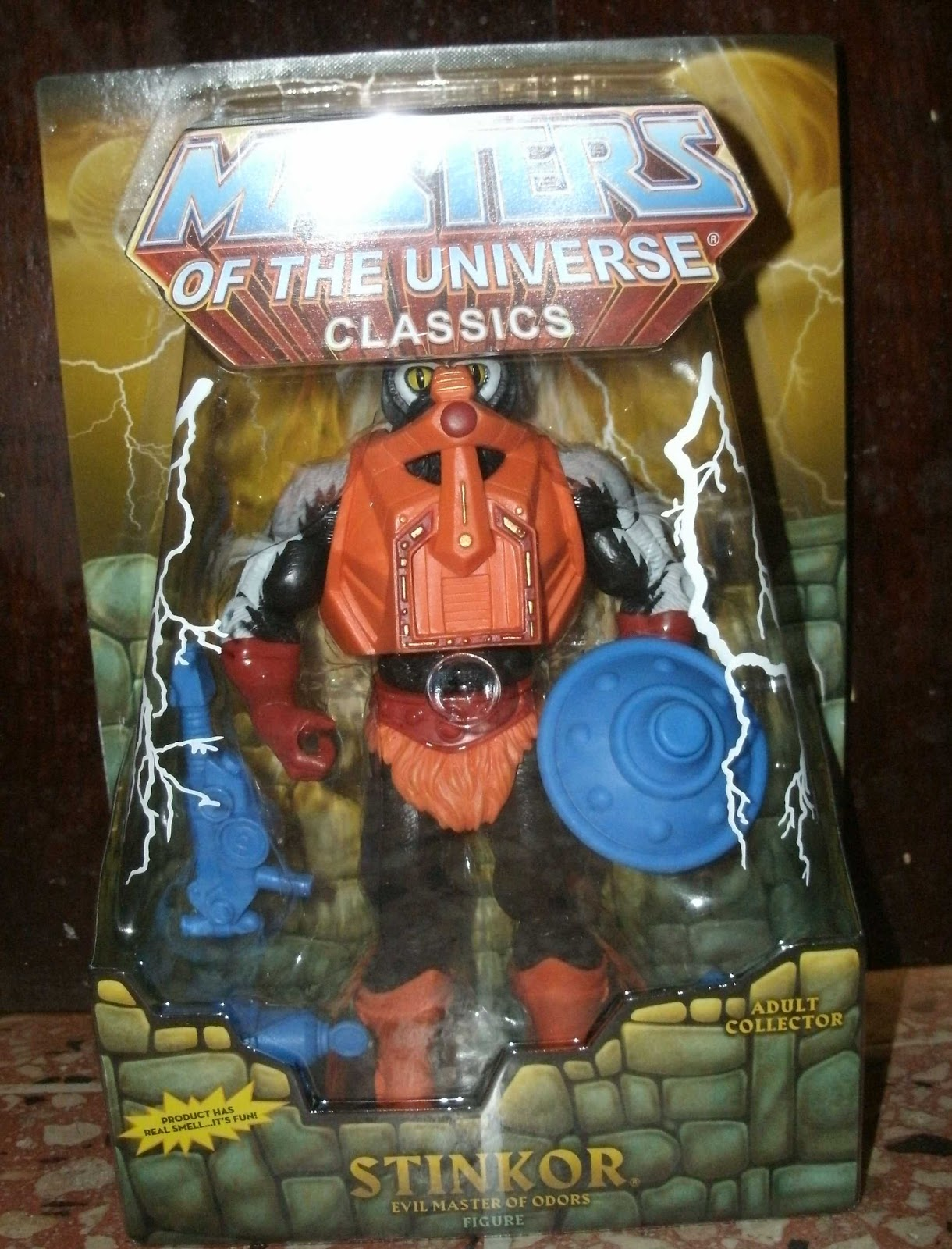 Pré-commande Vintage Masters Of The Universe Custom Grayskull STINKOR Blue Shield arme