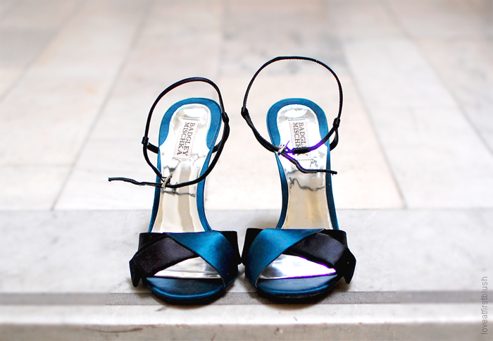 teal and black satin open toe high heels
