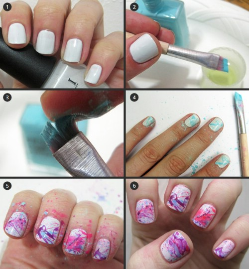 Splashing Nail Art Designs
