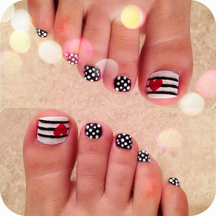 Heart Toe Nail Design