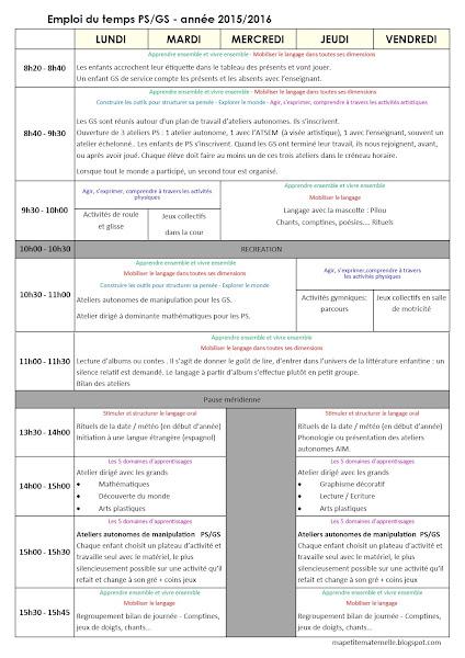 emploi du temps maternelle 2015 PS/GS