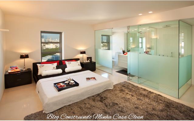 Construindo Minha Casa Clean Quartos Integrados com Banheiros de Vidros! -> Quarto Com Banheiro Integrado Simples