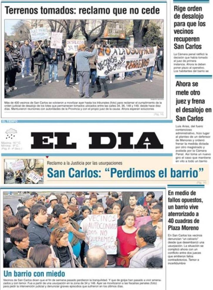 En la imagen: montaje de tapas denunciadas de el Diario El Día