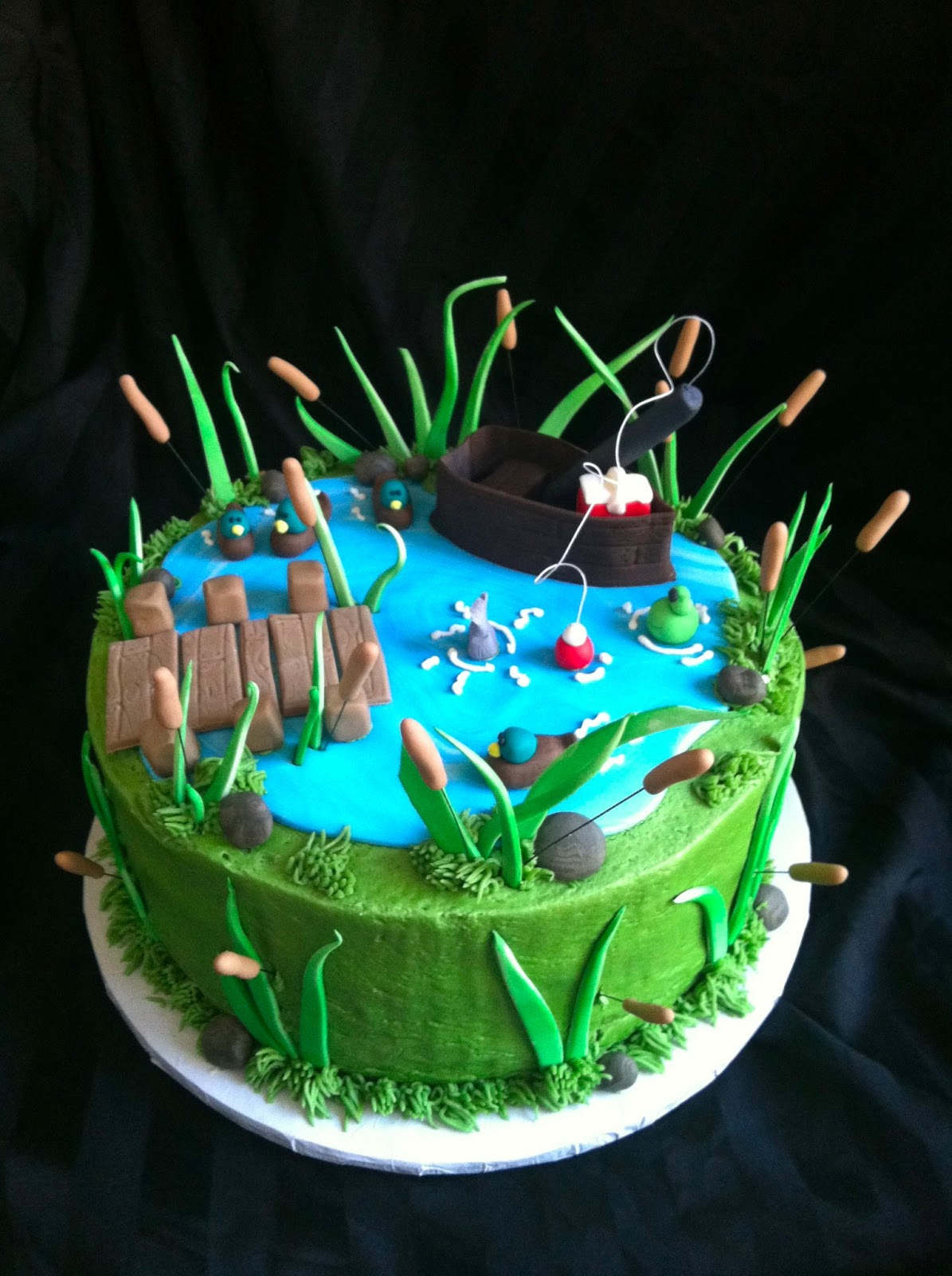 A little something sweet large fishing cake for Fishing themed cakes