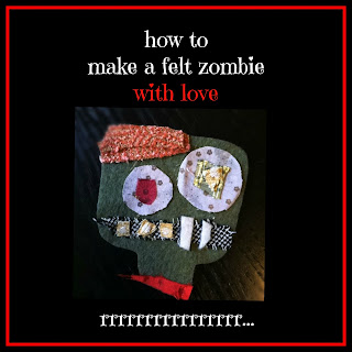 zombie applique, zombie patch, how to make a cute zombie, zombie hair clip and brooch pin