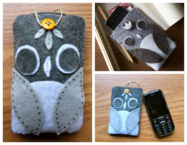 homemade felt owl phone holder