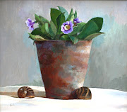 Oil painting of a pot of flowers by British artist Barbara Richardson.