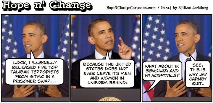 obama, obama jokes, political, humor, cartoon, conservative, hope n' change, hope and change, stilton jarlsberg, bowe bergdahl, taliban, gitmo five