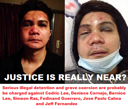 Serious illegal detention and grave coercion are probably be charged against Cedric Lee, Deniece Cornejo, Bernice Lee, Simeon Raz, Fedinand Guerrero, Jose Paolo Calma and Jeff Fernandez