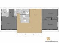 plano de casa con los dormitorios a los costados y el living comedor central