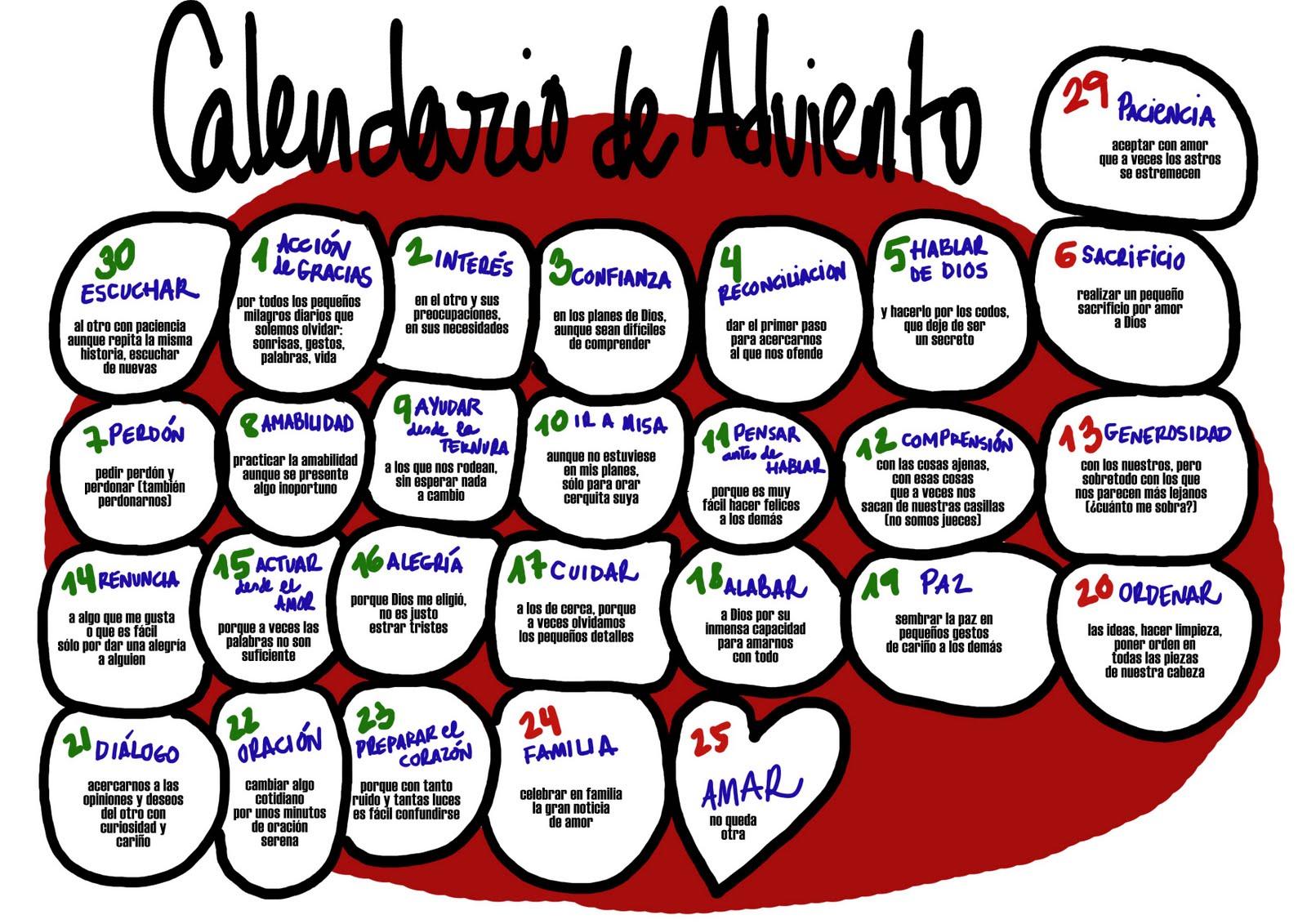 Vida de gracia calendario adviento 2015 un prop sito for Calendario adviento 2017