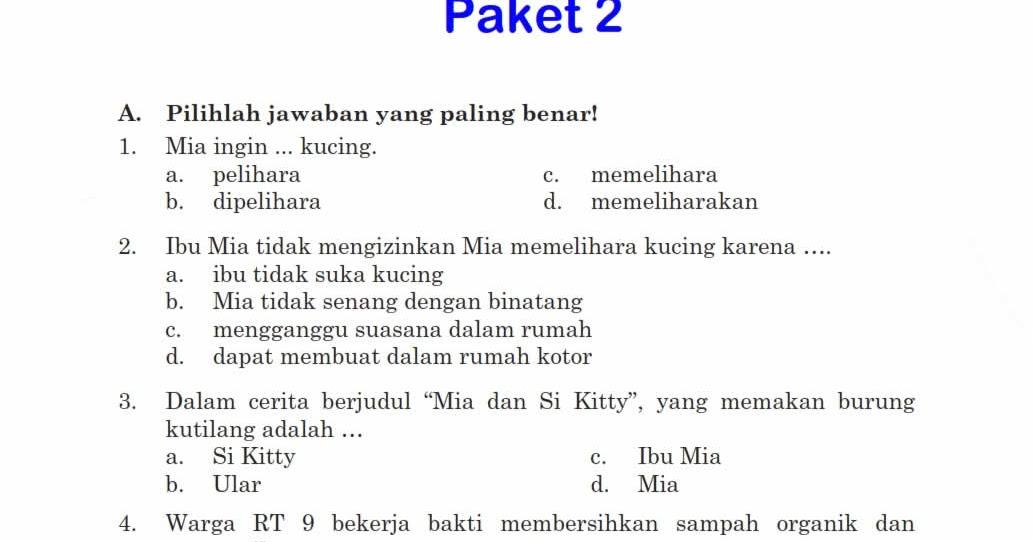 Download Soal Uts Ganjil Bahasa Indonesia Kelas 6 Semester 1 Rief Awa