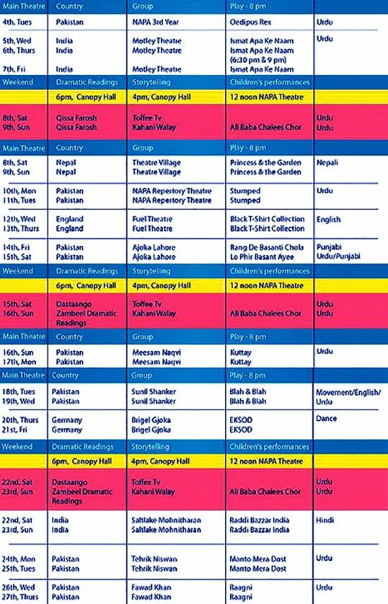 NAPA theatre festival schedule 2014