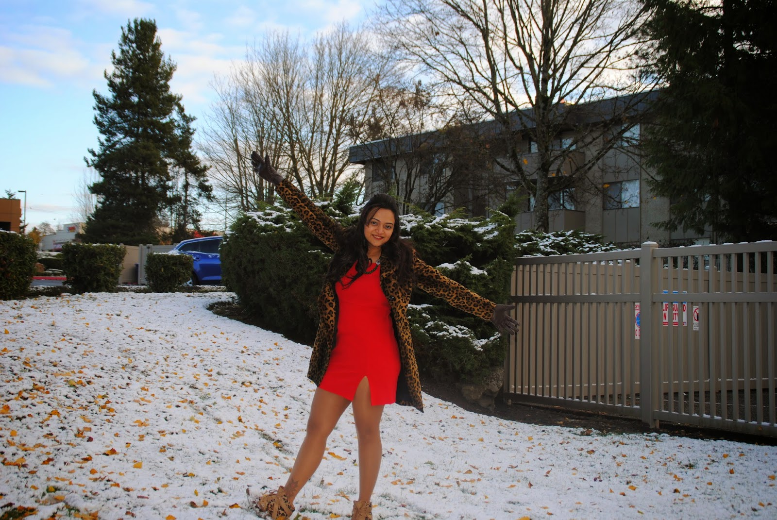 I love wearing red and Christmas is no exception. This short bright red dress is perfect for the festive season.