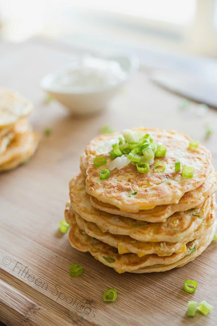 savory corn cakes recipe from fifteen spatulas