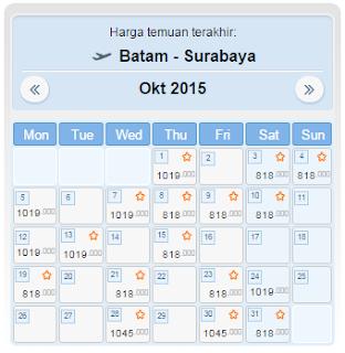 harga tiket pesawat batam surabaya oktober 2015