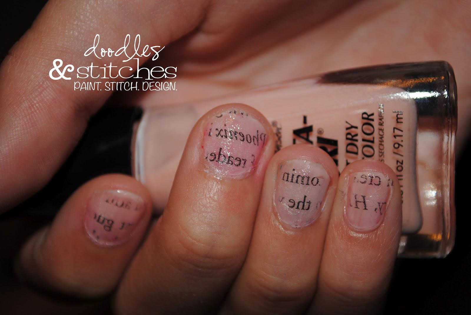 Newsprint Nails - Doodles & Stitches