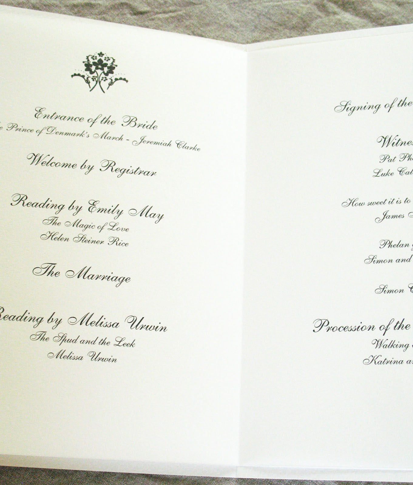 church wedding ceremony order of service template