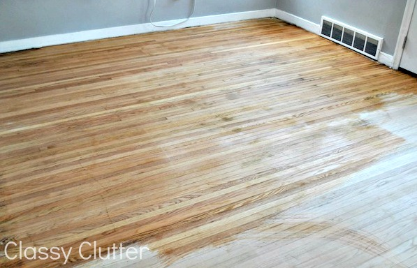 Once the floor is dry, it's time for my favorite part. STAIN! I had an  awesome friend give me a gallon of stain that her family used when redoing  their ... - How To Refinish Wood Floors