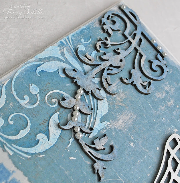 Wedding card by Tracey Sabella for Helmar: Fabric Glue, Leaky Shed Studio Chipboard, Dusty Attic Chipboard, Mixed Media, Shabby Chic, Maja Summer Basics