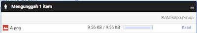 Tampilan Jendela Indikator File google drive