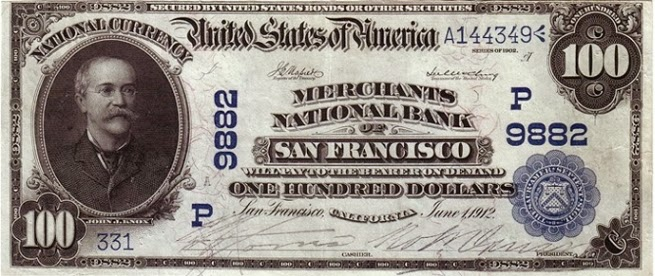 100 долларов, выпущенные банком Калифорнии, 1910 год