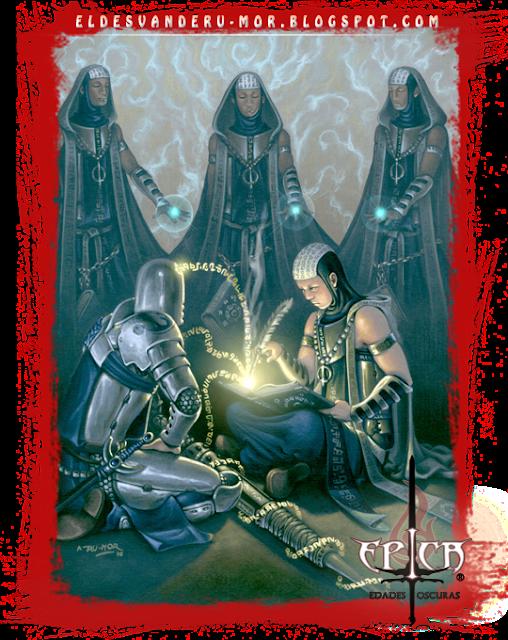 Ilustración de los Escribas del Aura Arcana hecha por ªRU-MOR para el juego de Cartas de ÉPICA: Edades Oscuras