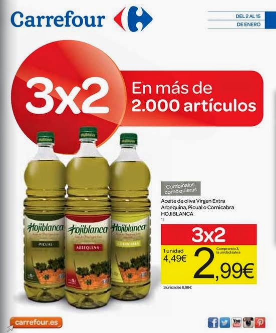 Ofertas Carrefour 3x2 Aceite de Oliva 1-2015